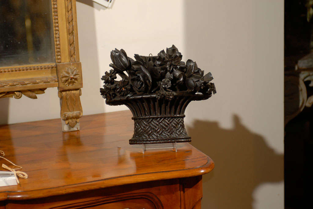 19th Century French Carved Basket of Flowers For Sale 3