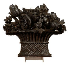 French Hand-Carved Basket of Flowers Sculpture with Dark Patina, 19th Century