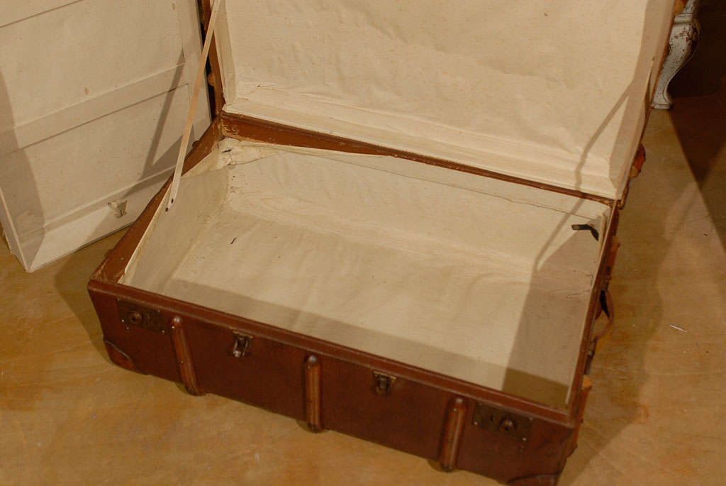 Canvas And Leather Steamer Trunk With Wood And Metal