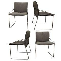 Set of 4 Modern Chrome Chairs