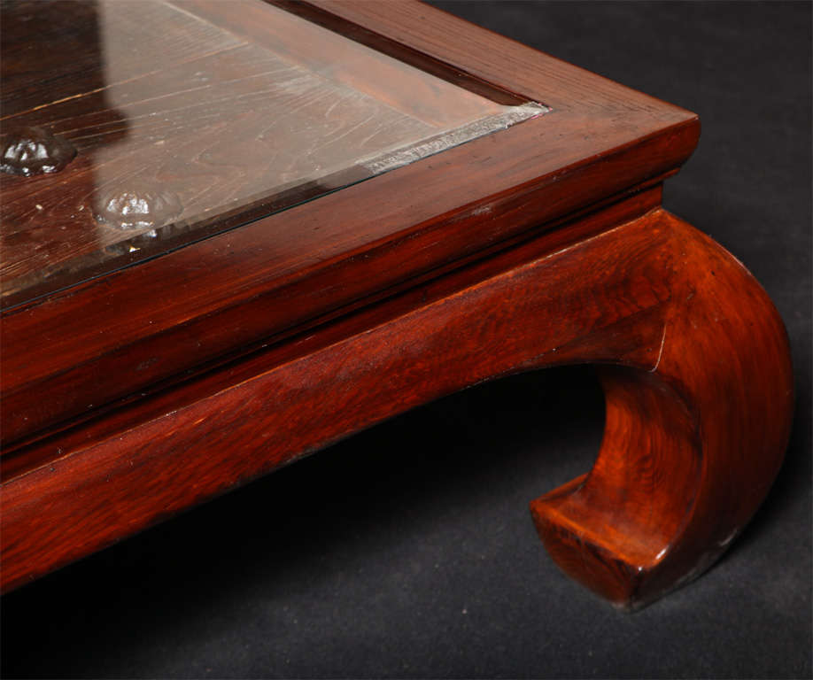 Chinese Glass Top Coffee Table Fashioned from an Antique 19th Century Door For Sale 3