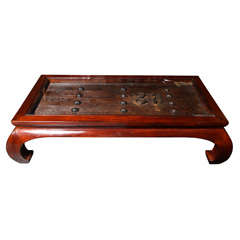 Chinese Glass Top Coffee Table Fashioned from an Antique 19th Century Door