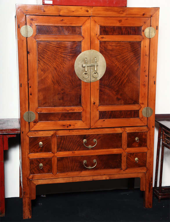 Large Hebei Burl Wood Paneled Cabinet With Brass Hardware Circa 1900 2