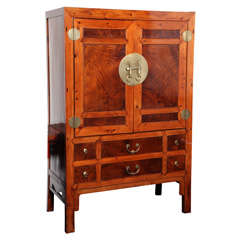 Large Chinese Hebei Burl Wood Paneled Cabinet With Brass Hardware, circa 1900