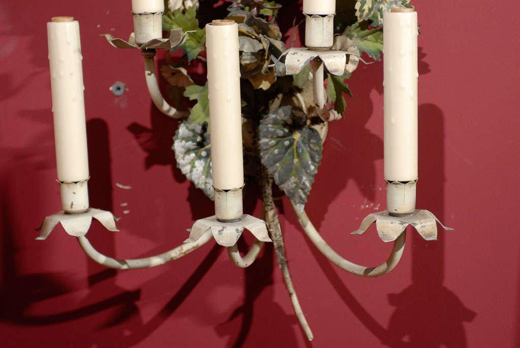 Antique Tole Sconces In Excellent Condition For Sale In Atlanta, GA