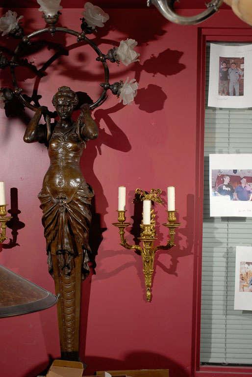 Pair of gilt bronze sconces For Sale 4