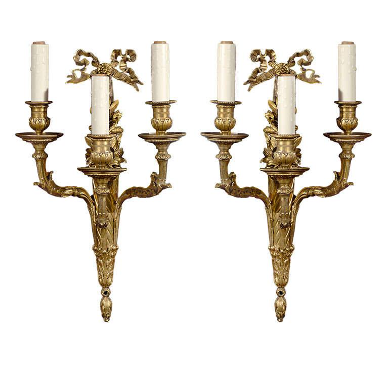 Pair of gilt bronze sconces For Sale