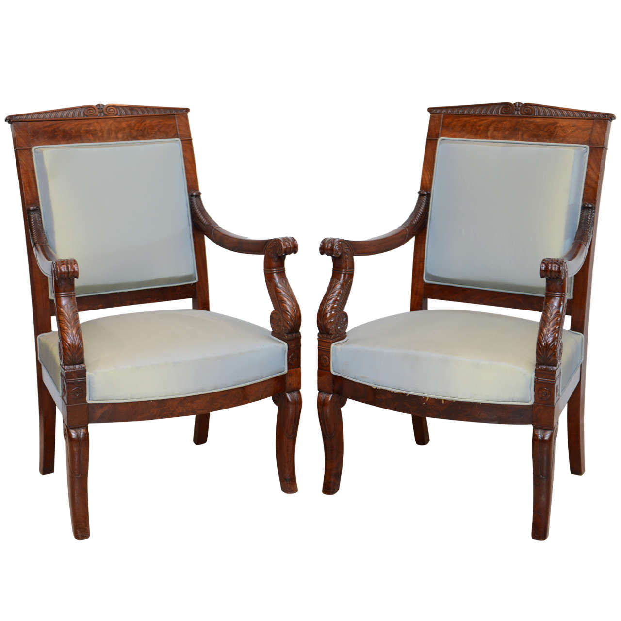 Fine Pair French Empire Mahogany Armchairs, Stamped Belanger