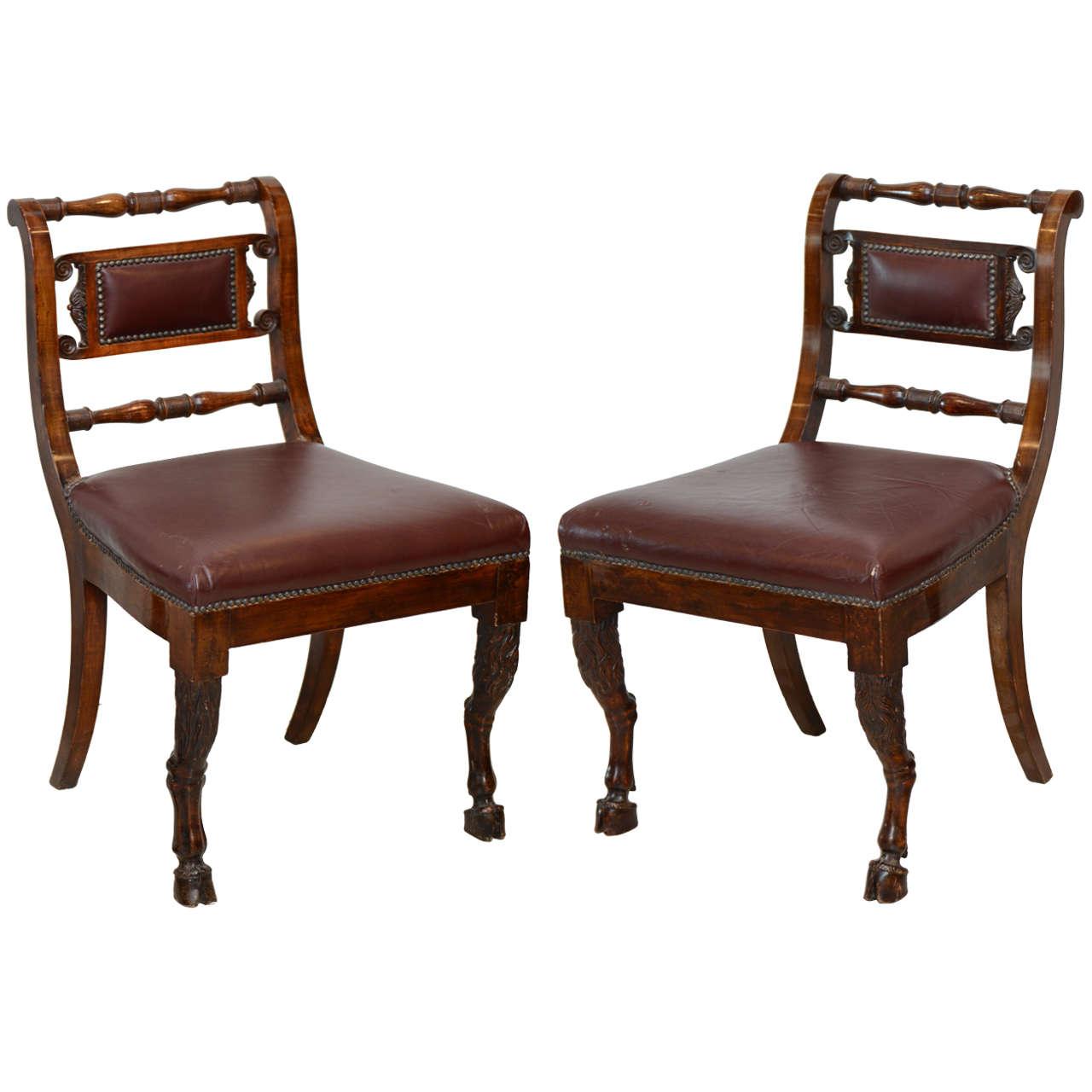 Set of Four Italian Empire Walnut Sidechairs, Early 19th Century