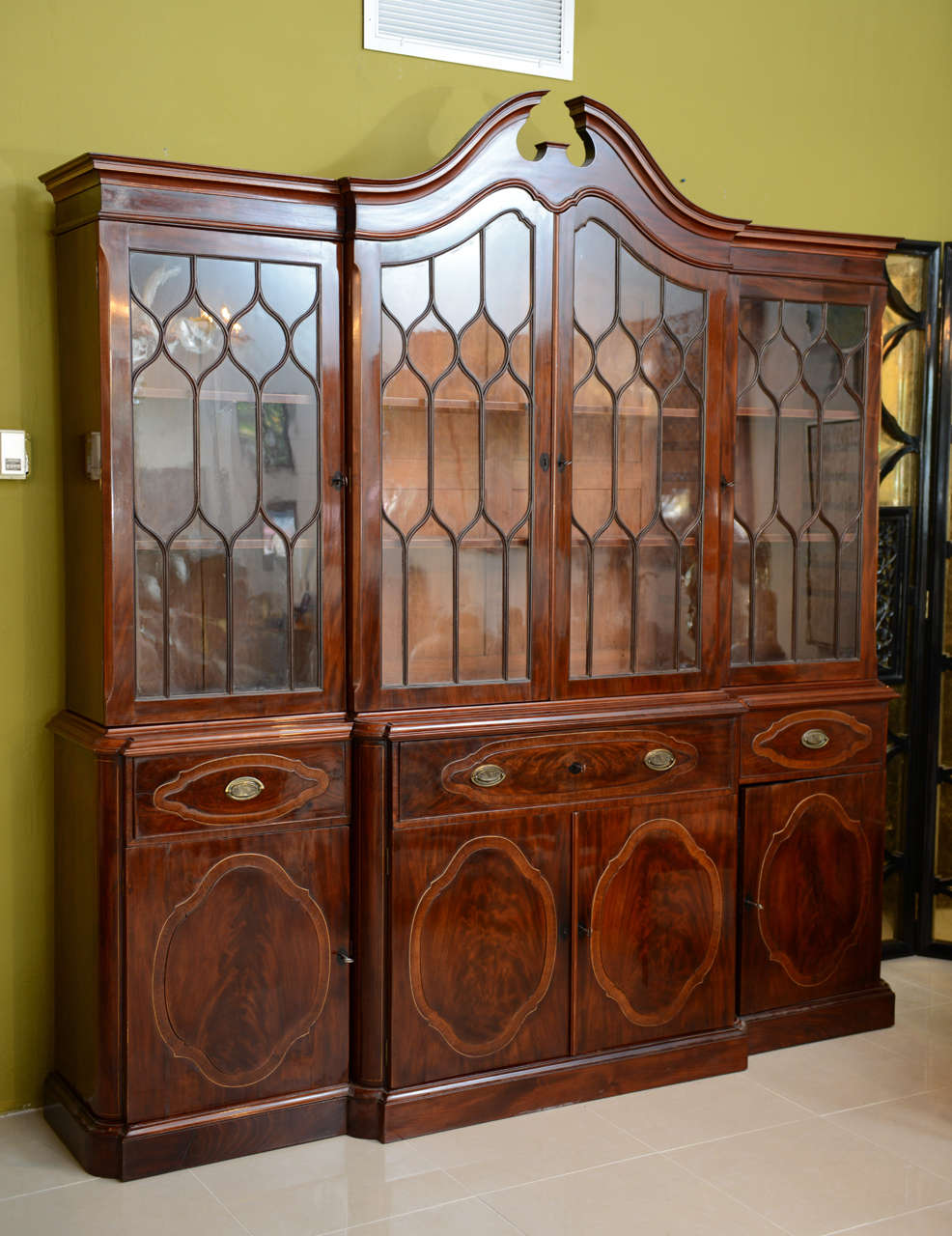 George III Fine Baltic Neoclassic Mahogany Breakfront, Late 18th Century For Sale