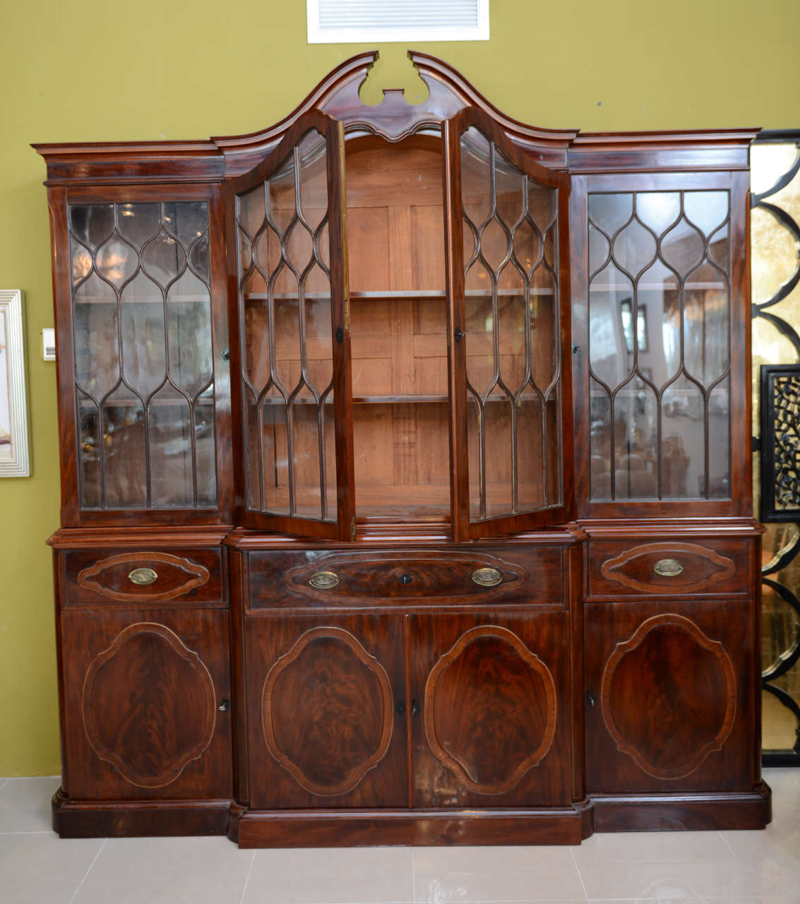 18th Century and Earlier Fine Baltic Neoclassic Mahogany Breakfront, Late 18th Century For Sale