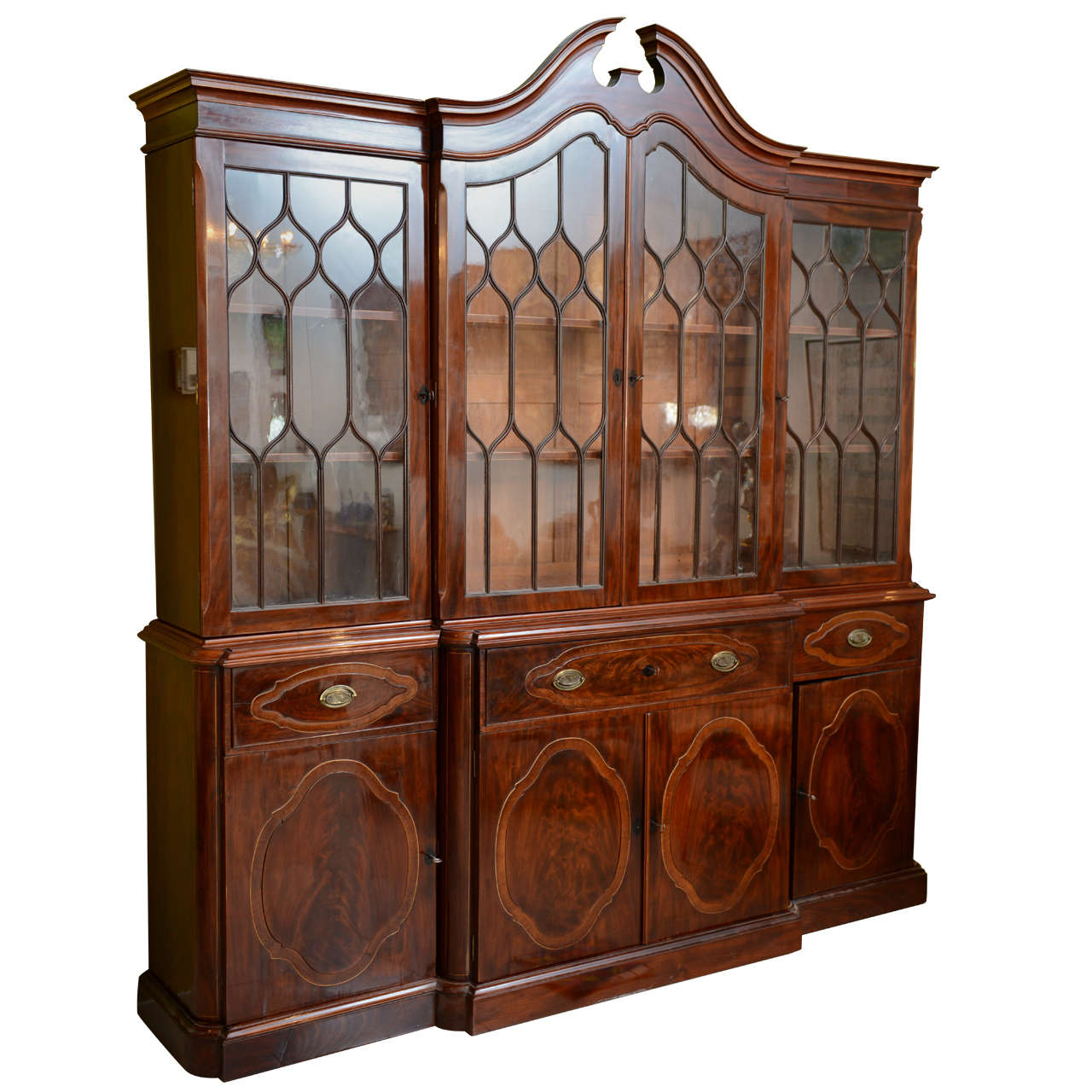 Fine Baltic Neoclassic Mahogany Breakfront, Late 18th Century For Sale
