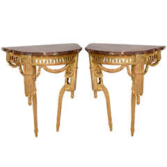 Pair of Fine Italian Neoclassic Giltwood Console Tables, Late 18th Century