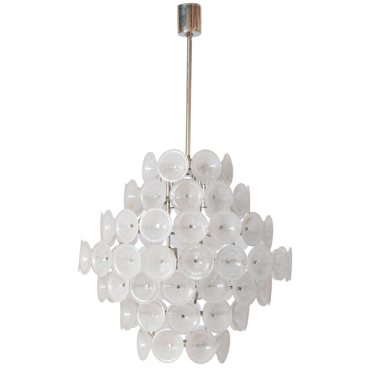 Gino vistosi chandelier for venini murano glass drop 1960s for sale executive vistosi ice glass disc chandelier aloadofball Images