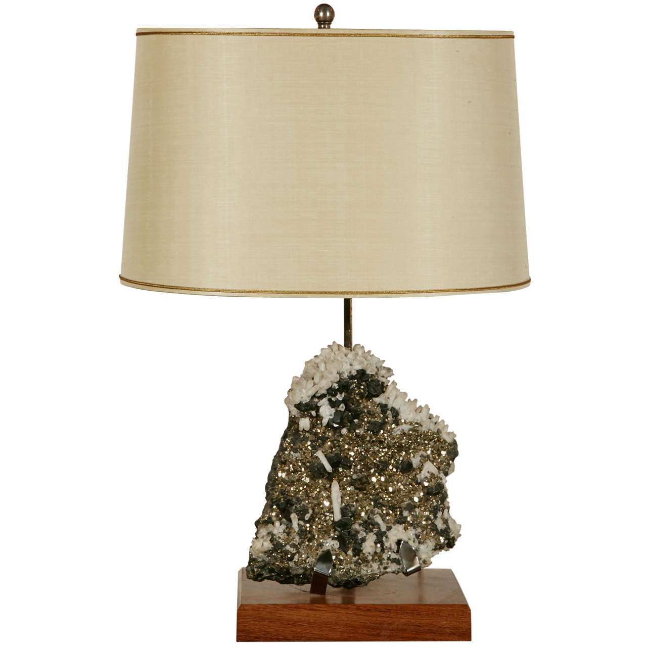 Elegant Table Lamp With Pyrite In The Manner Of Willy Daro
