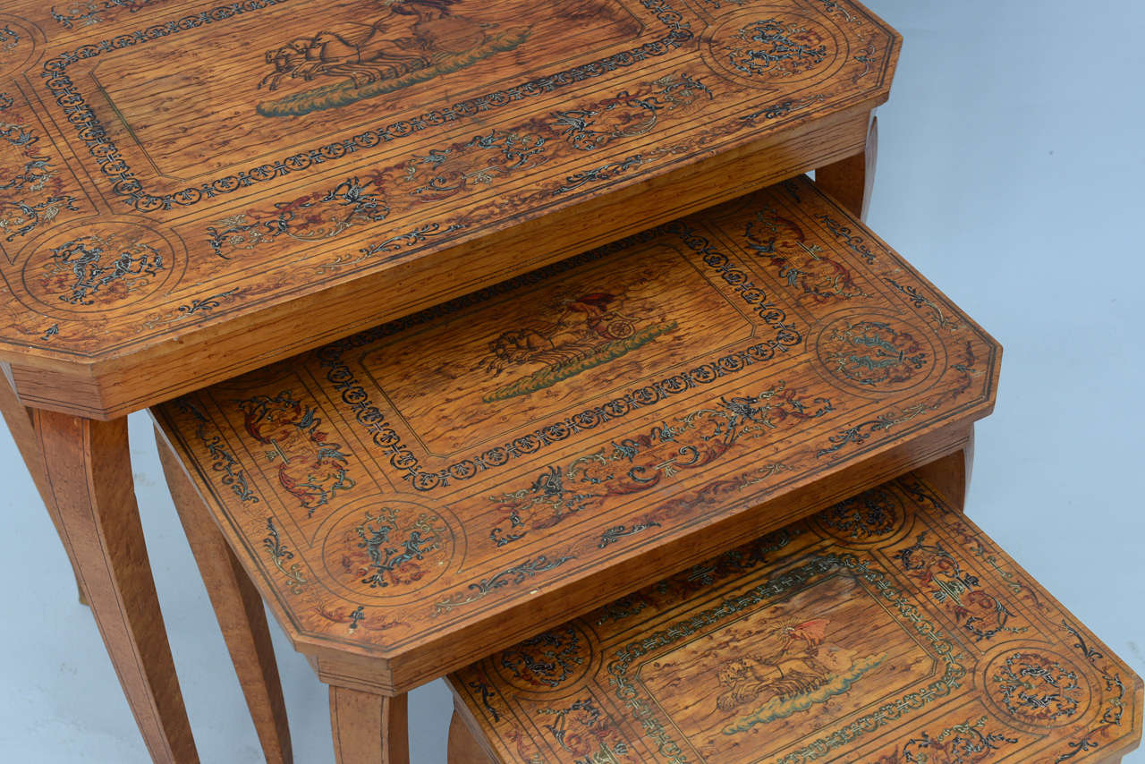 Italian Set of Three Neoclassical Nesting Tables For Sale