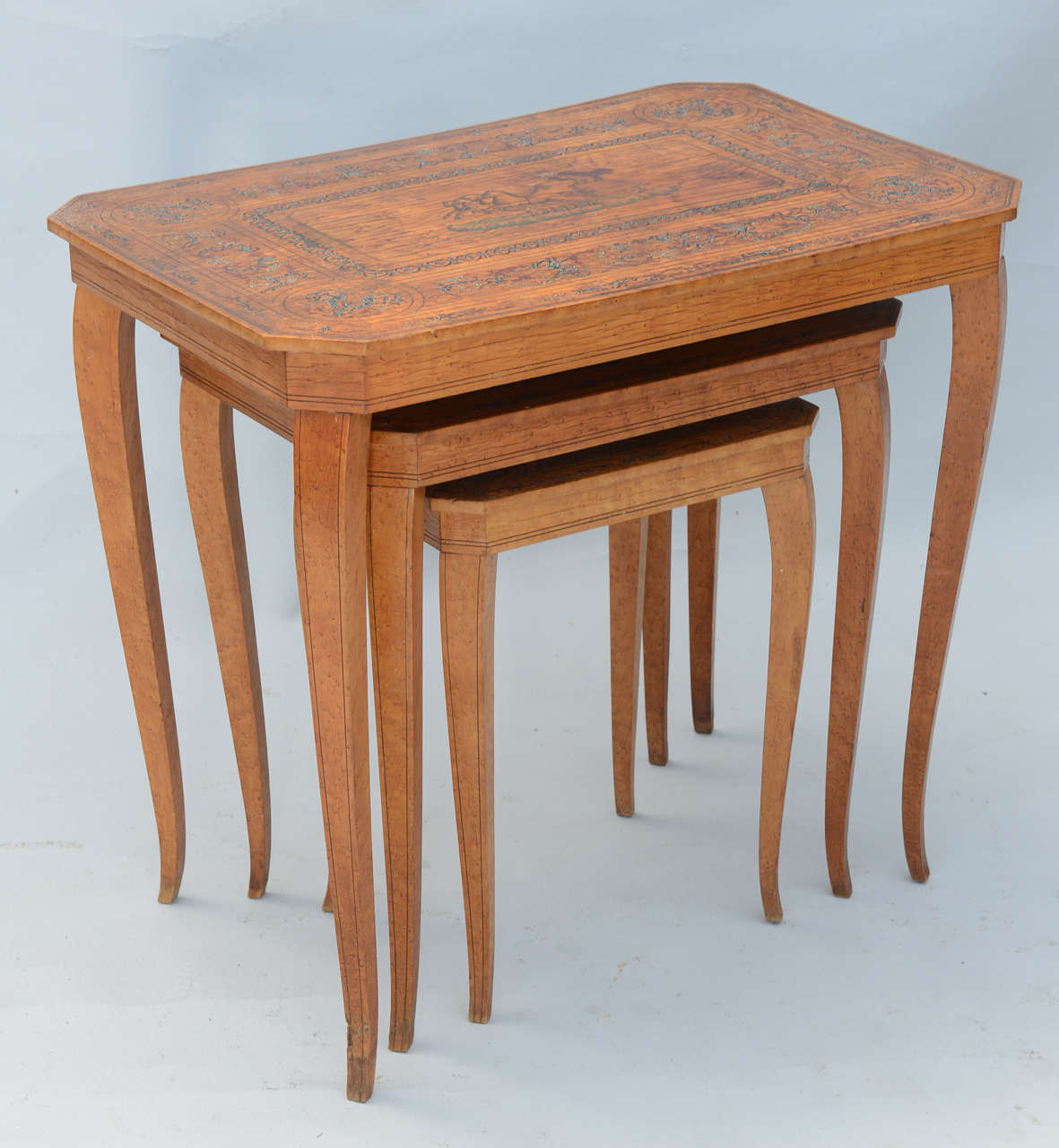 Set of Three Neoclassical Nesting Tables For Sale 1