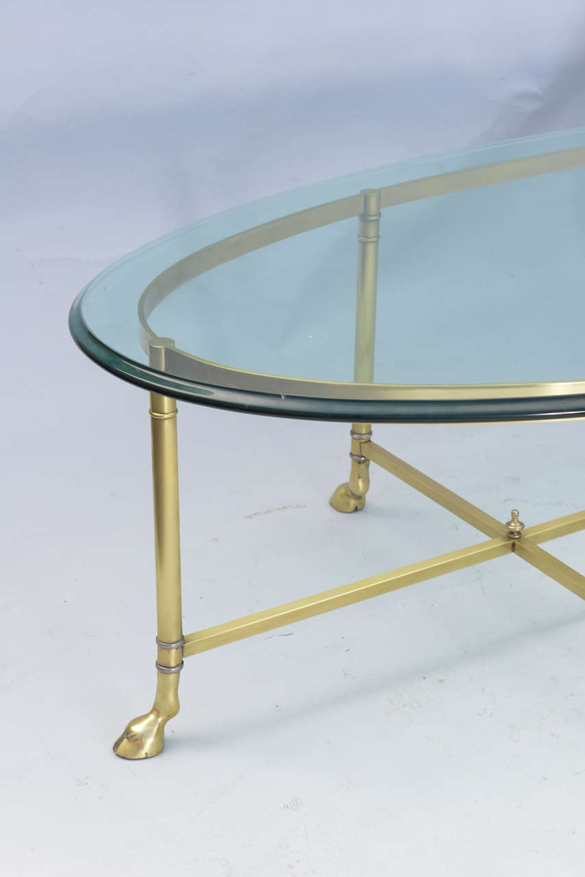 Polished Brass Cocktail Table With Oval Glass Top At 1stdibs