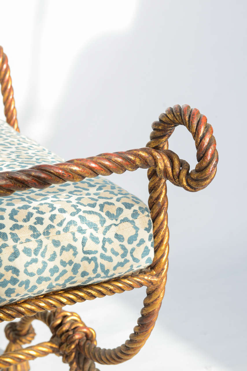 Gilded Iron Rope And Tassel Stool For Sale At 1stdibs