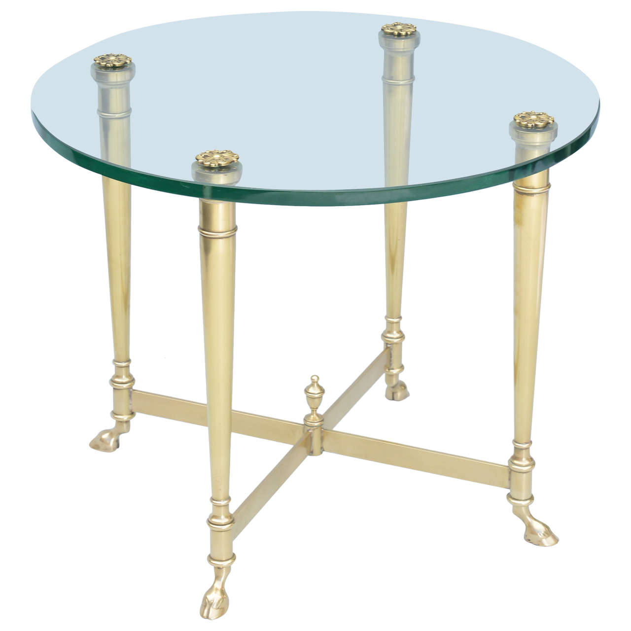 Polished Brass End Table With Glass Top On Hooved Feet For Sale At