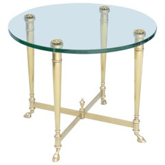 Polished Brass End Table with Glass Top on Hooved Feet