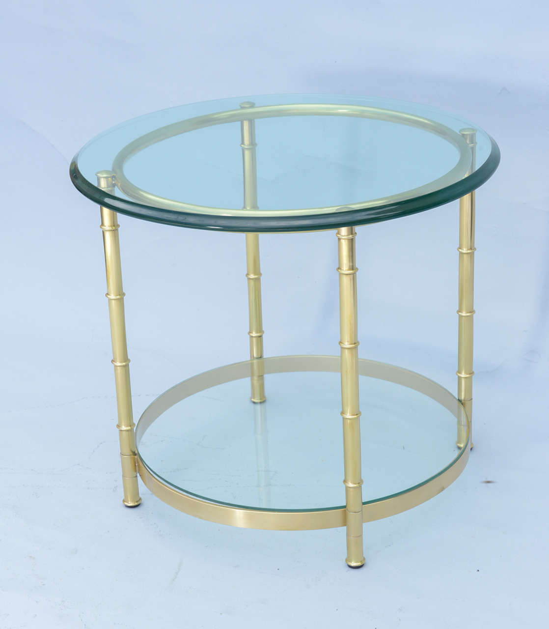 Beveled Polished Brass Faux Bamboo End Table For Sale
