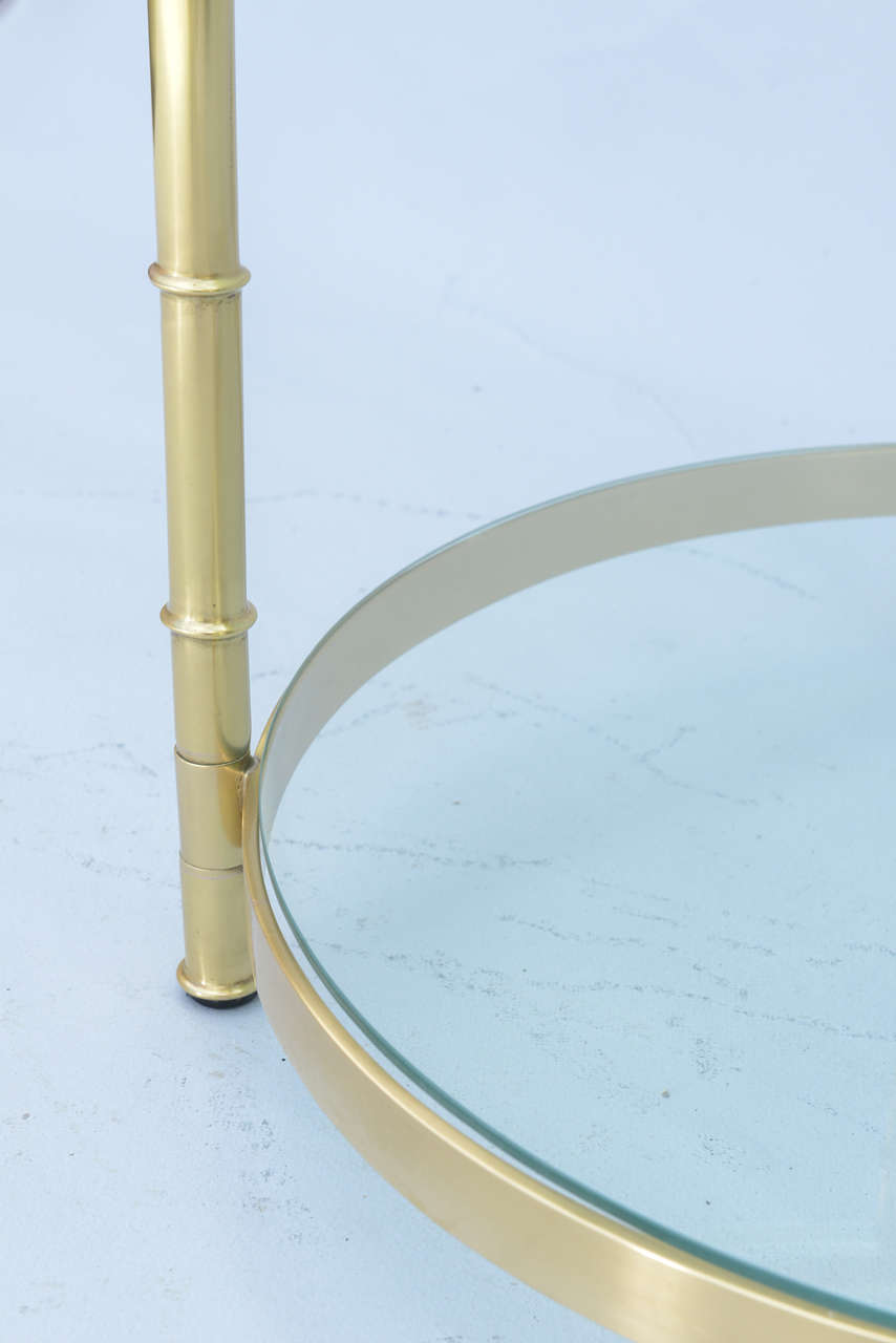 Polished Brass Faux Bamboo End Table In Excellent Condition For Sale In West Palm Beach, FL