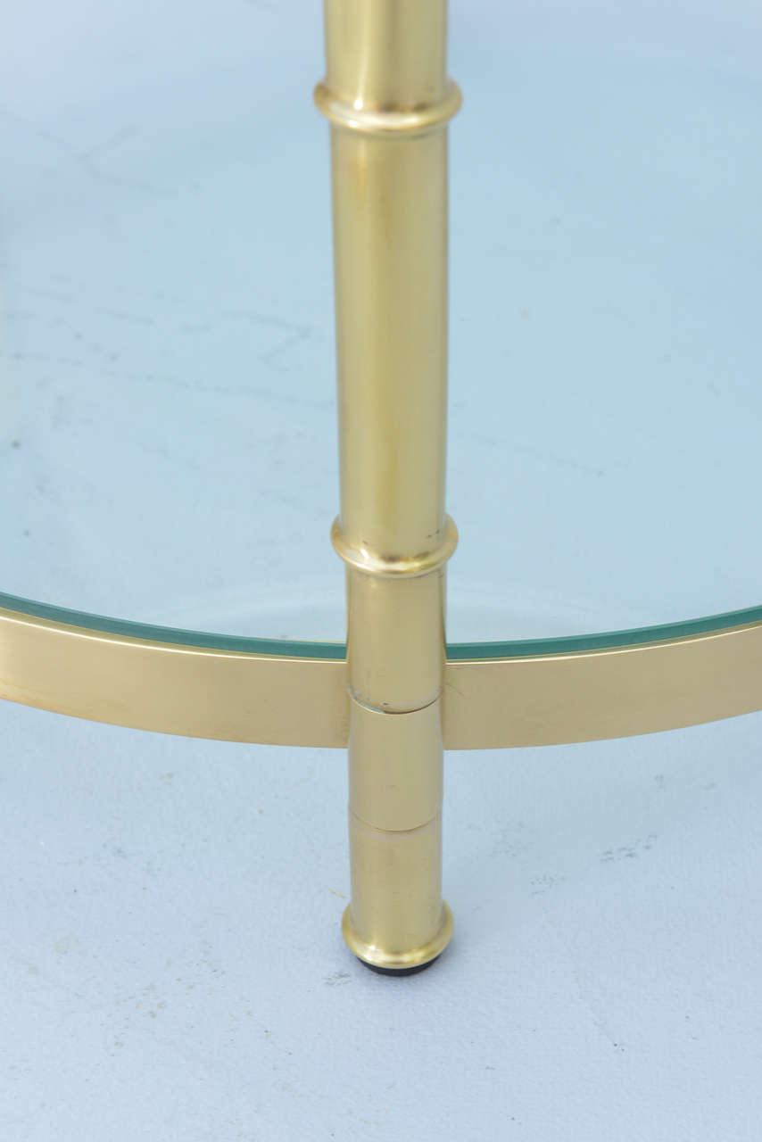 Polished Brass Faux Bamboo End Table For Sale 2