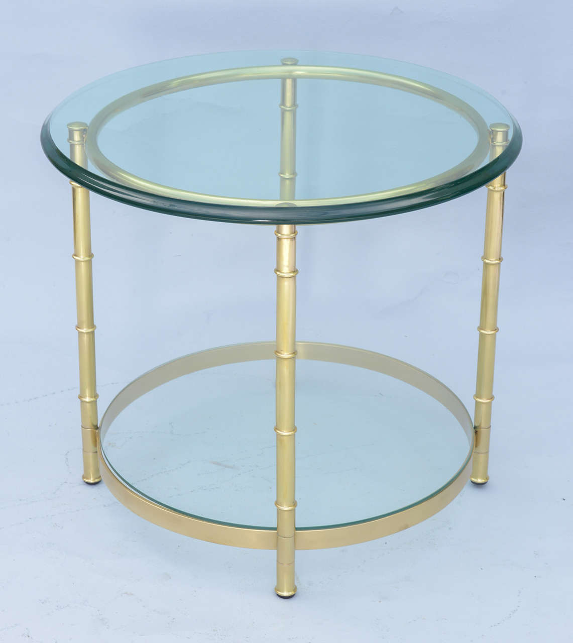 Polished Brass Faux Bamboo End Table For Sale 3