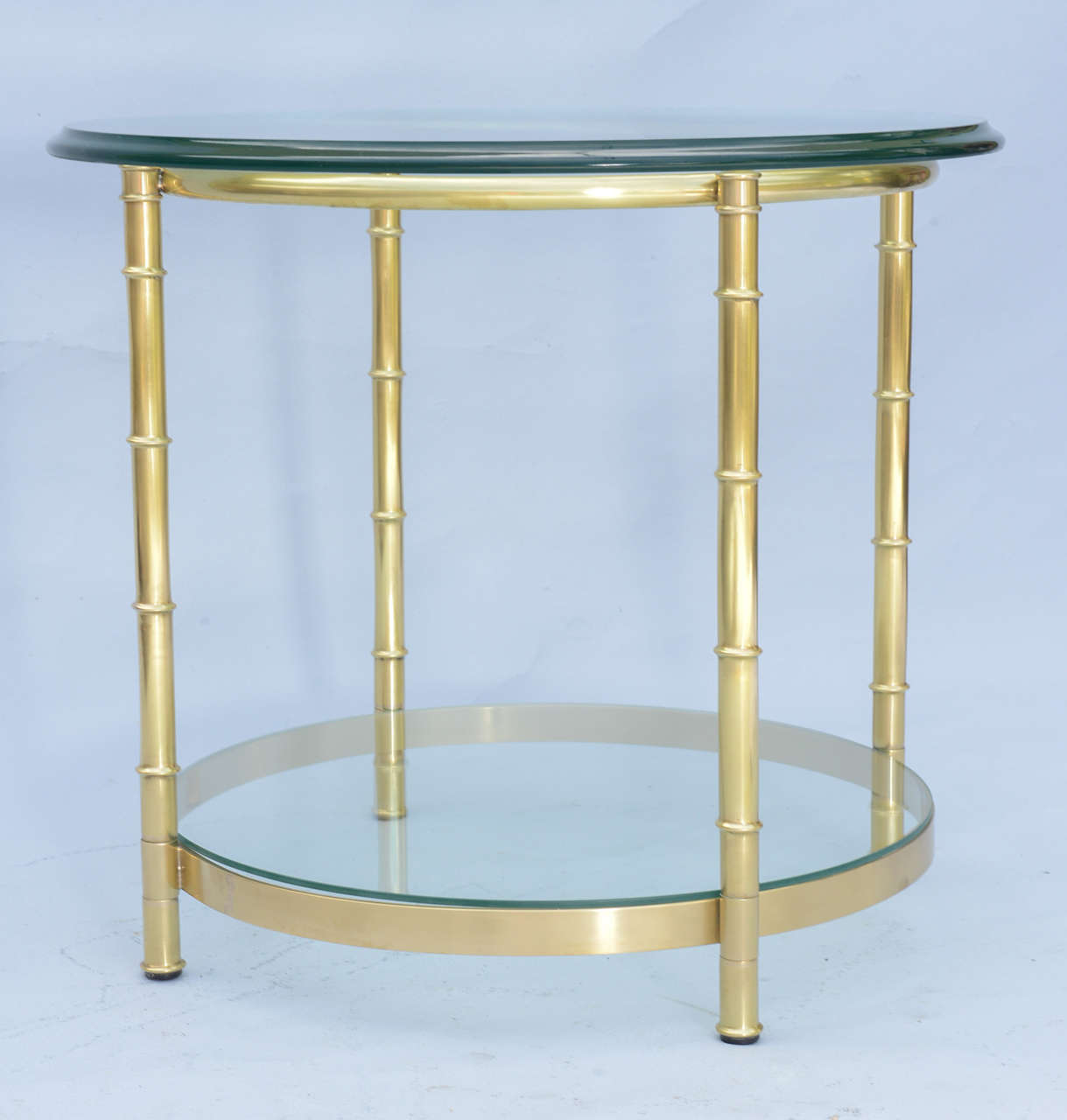 Polished Brass Faux Bamboo End Table For Sale 4
