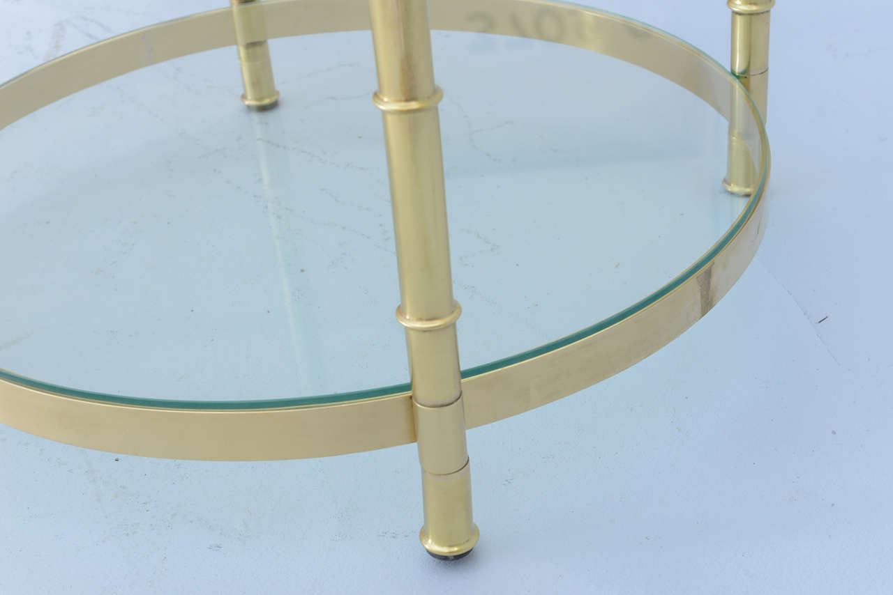 Polished Brass Faux Bamboo End Table For Sale 5