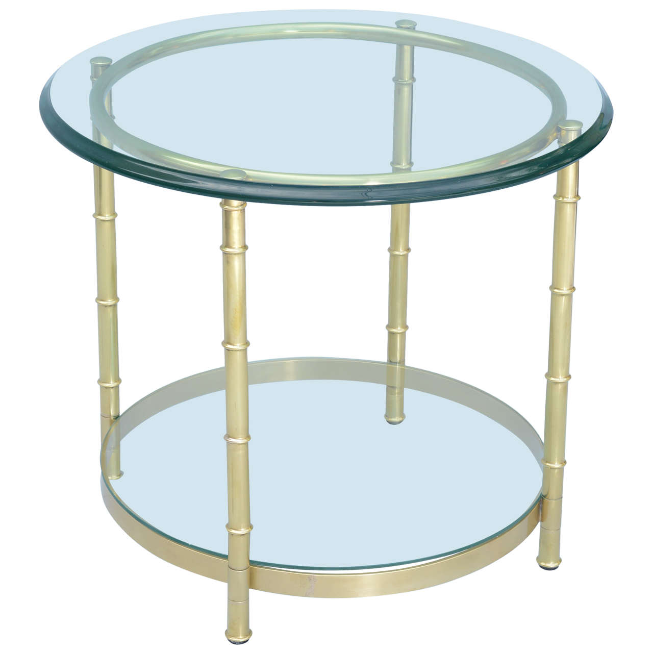 Polished Brass Faux Bamboo End Table