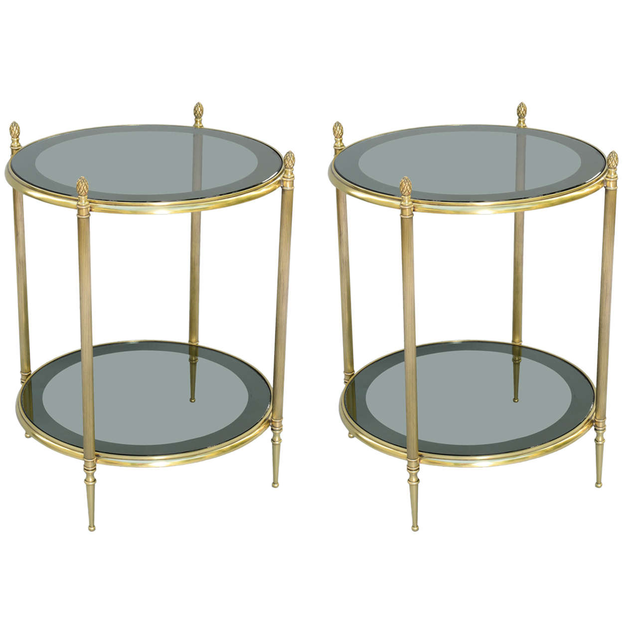 Pair Of Maison Jansen End Tables With Original Mirror
