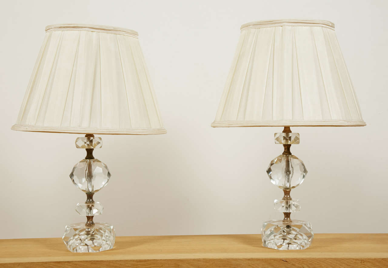 Pair of Cut Glass Table Lamps, France, 1950s For Sale 4