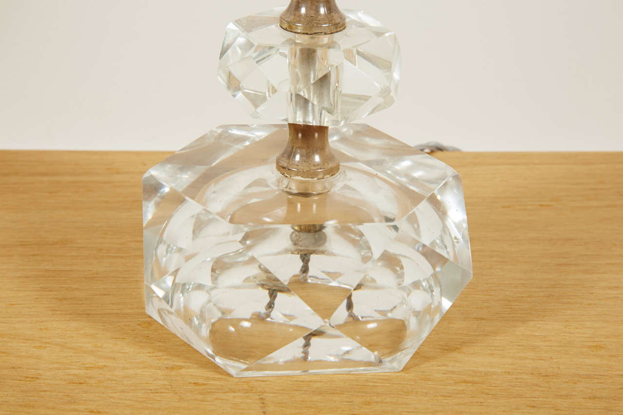 French Pair of Cut Glass Table Lamps, France, 1950s For Sale