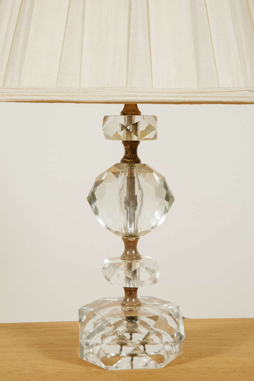 Pair of Cut Glass Table Lamps, France, 1950s In Good Condition For Sale In Paris, FR