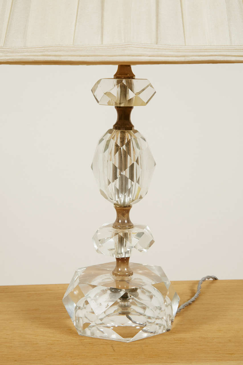Pair of Cut Glass Table Lamps, France, 1950s For Sale 1
