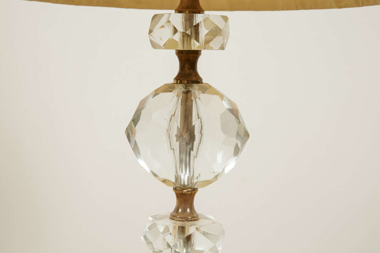 Pair of Cut Glass Table Lamps, France, 1950s For Sale 2