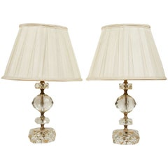 Pair of Cut Glass Table Lamps, France, 1950s