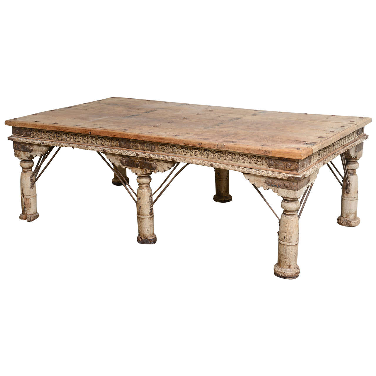 Large indian teak hand carved coffee table or daybed at 1stdibs Hand carved coffee table