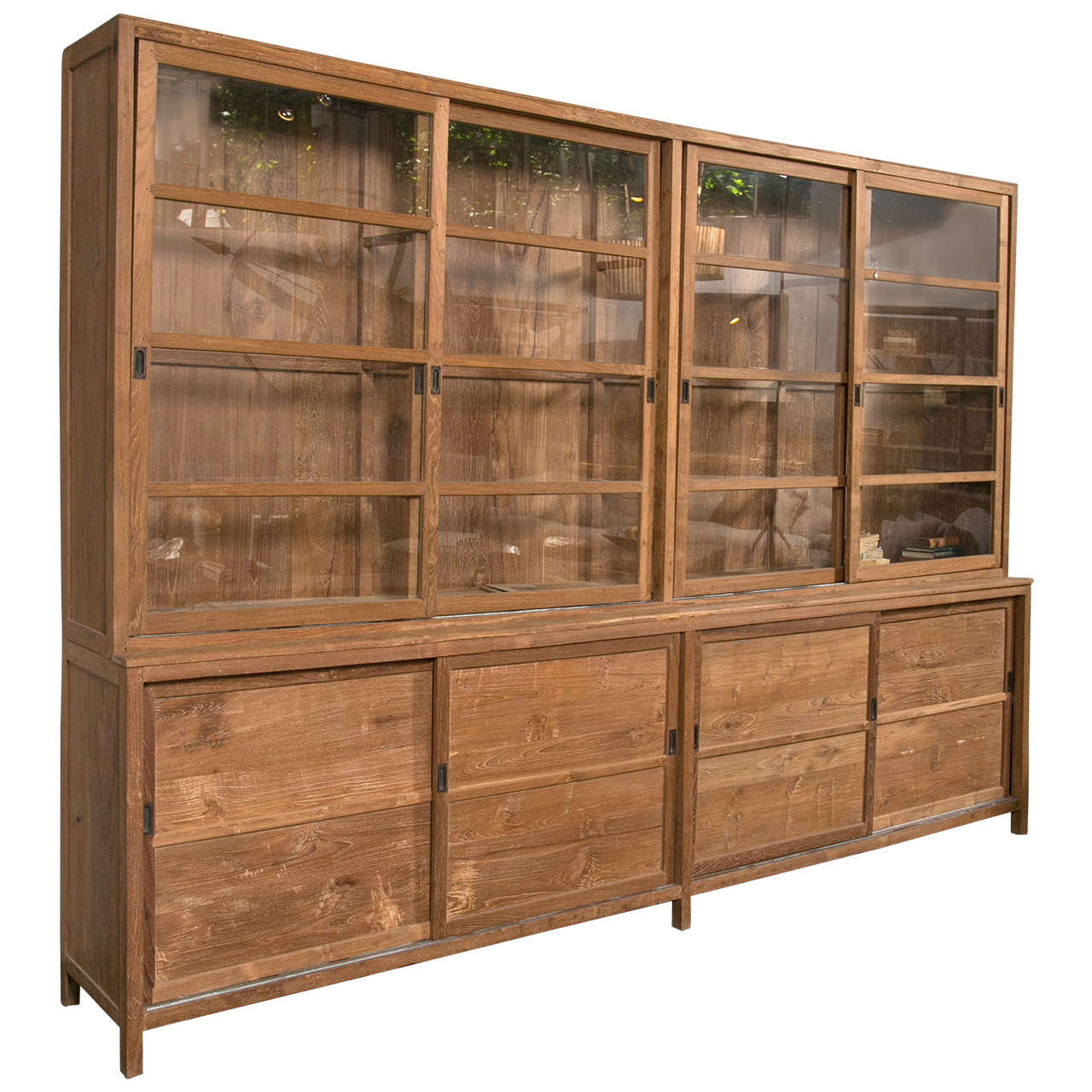 Sliding Glass Door Teak Cabinet At 1stdibs