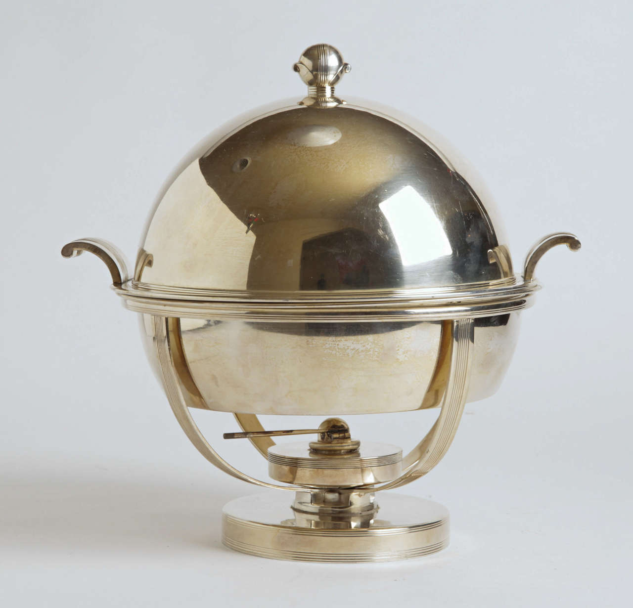 Machine Age Art Deco Chafing Set, Lurelle Guild for International Silver  Rare  This one has all the Iconic Guild International silver-plate elements: Signature bud finial, incised horizontal lines, curved speed handles and Saturn frame.  Comprising