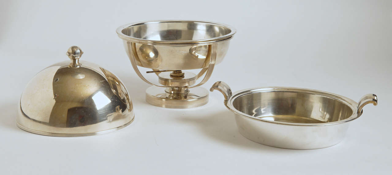 American Machine Age Art Deco Chafing Set, Lurelle Guild for International Silver  Rare For Sale