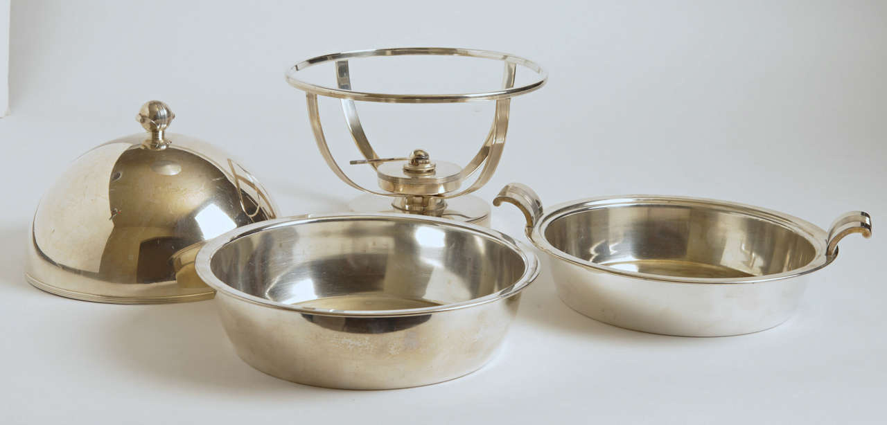 Machine Age Art Deco Chafing Set, Lurelle Guild for International Silver  Rare In Good Condition For Sale In Dallas, TX