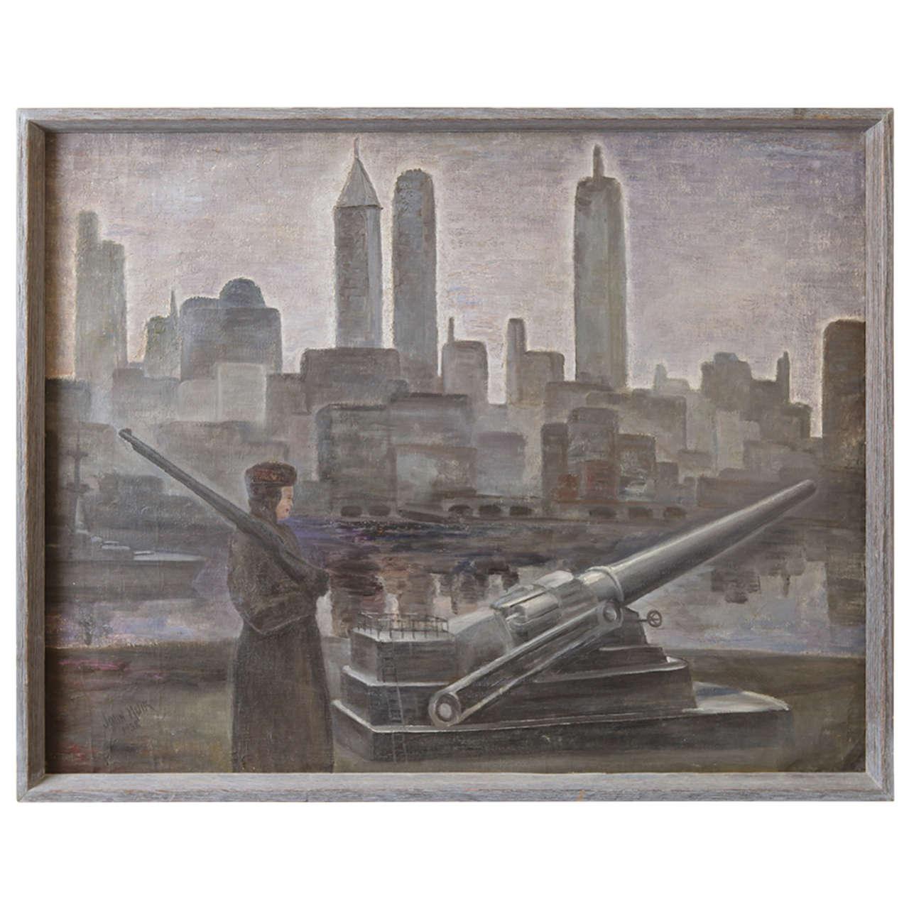John Muir, Oil on Canvas, WPA Skyscraper, Military Waterfront Scene