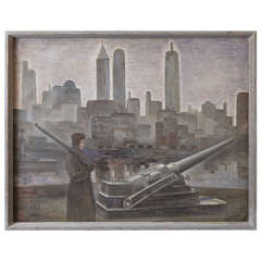 John Muir, Oil on Canvas, WPA Skyscraper, Military Waterfront Scene