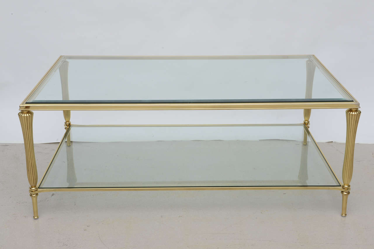 Antique Brass Glass Coffee Table Vintage Brass And Glass Regency Style Coffee Table At 1stdibs