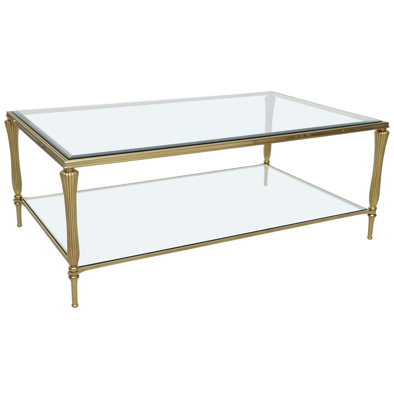 Vintage brass and glass regency style coffee table at 1stdibs for Brass and glass coffee table
