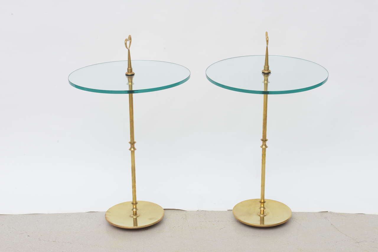 Pair Of Italian Brass And Glass Side Tables At 1stdibs