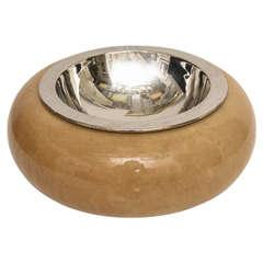 Aldo Tura Bowl in Goatskin and Polished Nickel